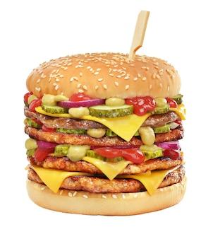 High cheeseburger avec galette de boeuf, cornichons, fromage, ketchup aux tomates isolé