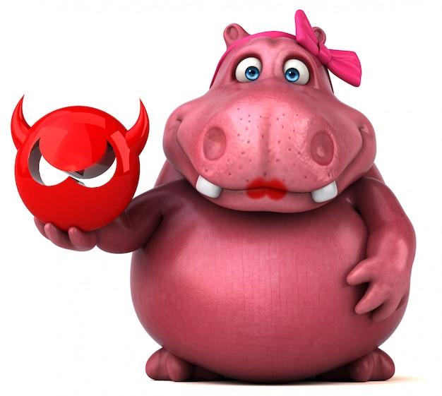 Hippo rose - illustration 3d