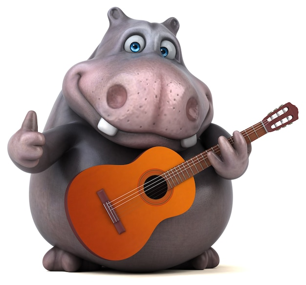 Hippopotame amusant - illustration 3d