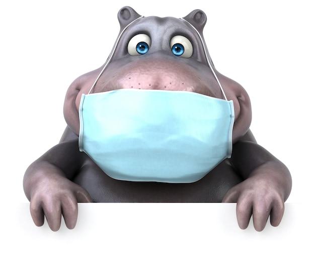 Hippopotame amusant avec un masque