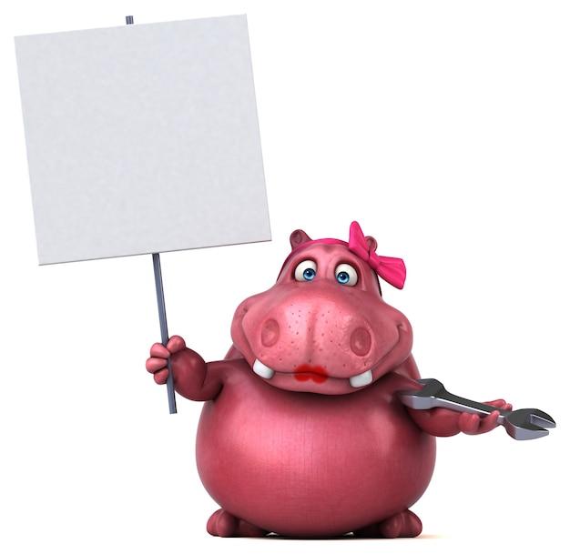Hippopotame rose - illustration 3d