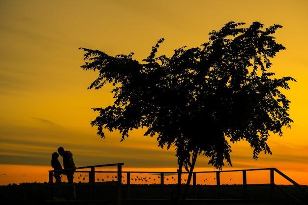 Histoire d'amour. couple au coucher du soleil. silhouette d'amoureux.