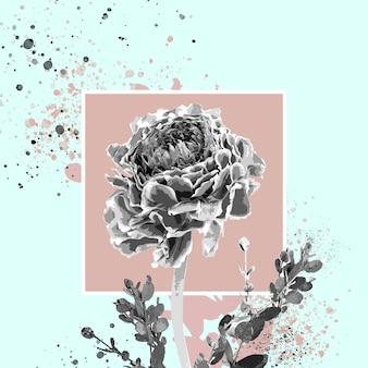 L'hiver. illustration aquarelle florale de fleur fantastique dans de belles couleurs. conception géométrique et splash moderne avec fond pour l'annonce. printemps, mariage, carte de voeux de la fête des mères, de la femme.