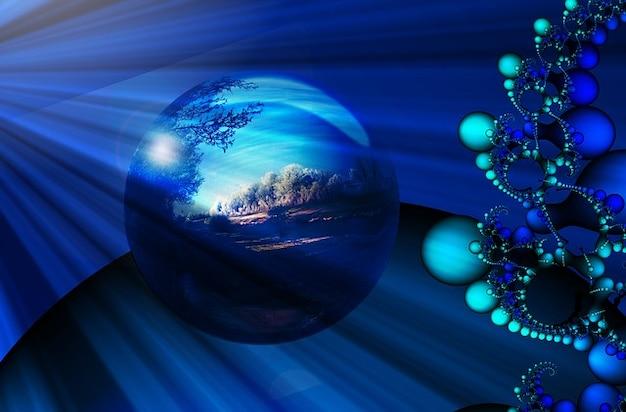 Hiver paysage fractal fractales rivière rayons billes