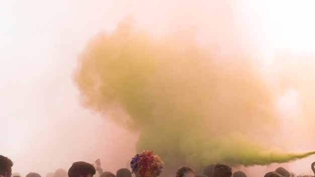 Holi spray de couleur sur la foule