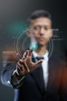 Hologramme cercle d'appui homme d'affaires