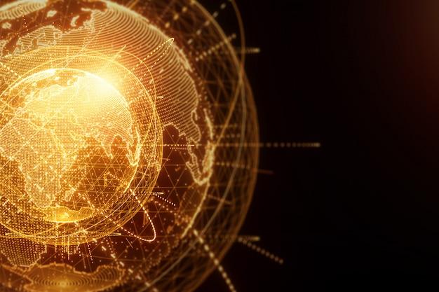 Hologramme doré et orange de la planète terre composé de points isolés sur un mur noir. mondialisation, réseau, internet rapide. espace copie, rendu 3d d'illustrations 3d.