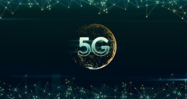 Les hologrammes représentent le monde dans les réseaux numériques 5g et internet. ligne légère du concept de connexion réseau sans fil 5g iot (internet des objets) illustration 3d réseau de communication rapide