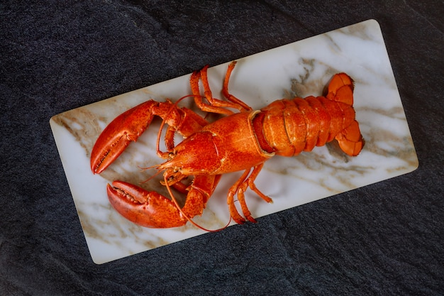 Homard bouilli sur crustacés de sélection fine pour le dîner.