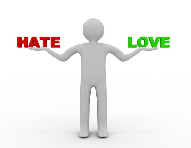 Homme 3d avec haine et amour. illustration de rendu 3d