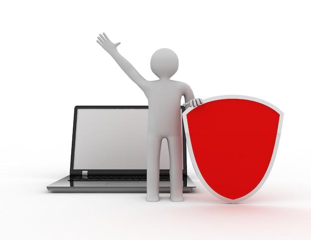 Homme 3d et ordinateur portable - affaires en ligne de sécurité