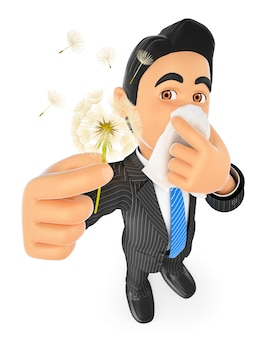 Homme d'affaires 3d avec allergie au pollen