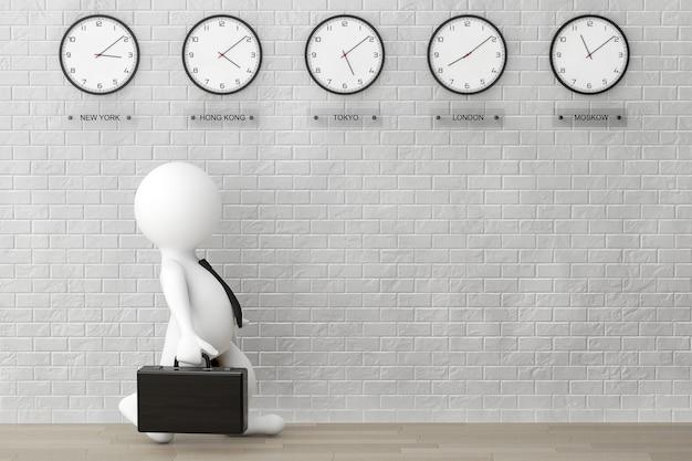 Homme d'affaires 3d courant avec une mallette devant des horloges de fuseau horaire et un mur de briques