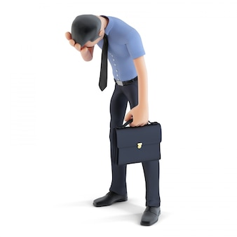 Homme d'affaires 3d en dépression avec la main sur le front. solitaire. contient un tracé de détourage