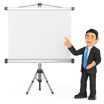 Homme d'affaires 3d avec un écran de projection vide
