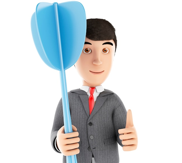 Homme d'affaires 3d avec une fléchette bleue.