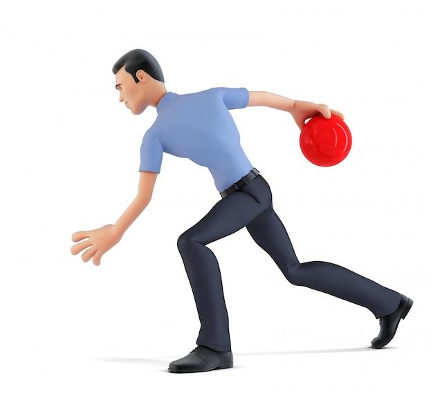 Homme d'affaires 3d jouant au bowling. isolé, contient un tracé de détourage