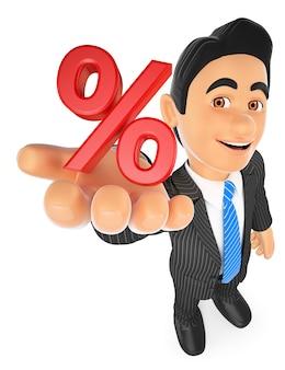 Homme d'affaires 3d montrant en symbole de pourcentage. concept de vente