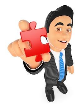 Homme d'affaires 3d avec une pièce du puzzle