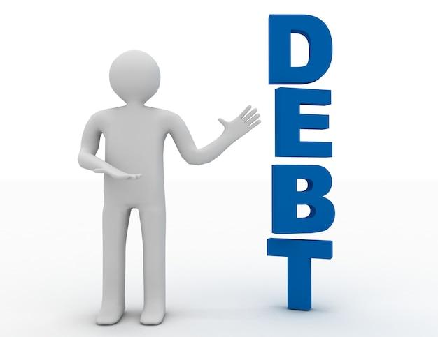 Homme d'affaires 3d présentant la dette de mot concept isolé sur fond blanc