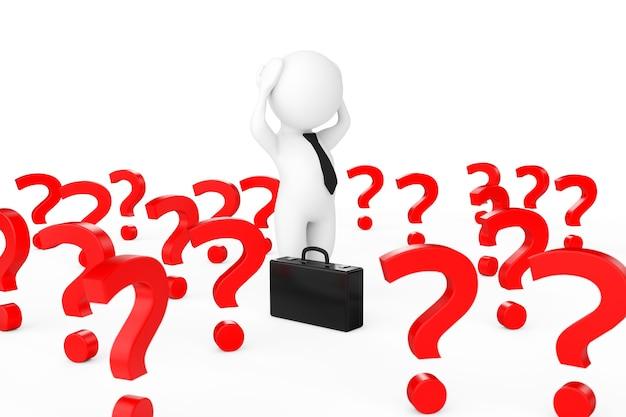 Homme d'affaires 3d a souligné au centre de nombreux points d'interrogation sur un fond blanc. rendu 3d.