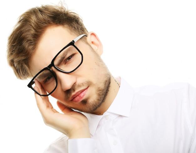 Homme affaires, accentué, pression, mal tête, inquiétude
