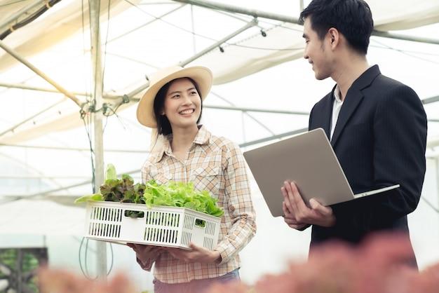 Homme d'affaires et agriculteur négocient des affaires sur le produit légume hydroponique de salade dans une ferme