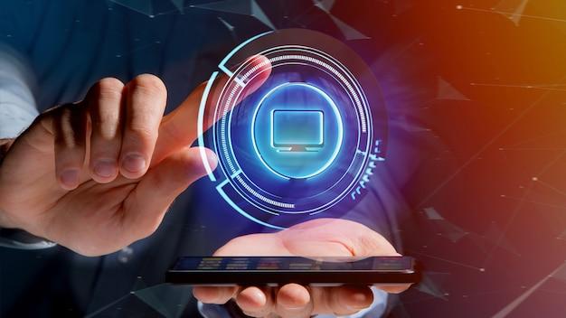 Homme d'affaires à l'aide d'un bouton d'ordinateur shinny technologic sur smartphone - rendu 3d