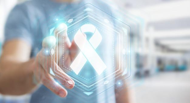 Homme d'affaires à l'aide de l'interface de cancer du ruban numérique, rendu 3d