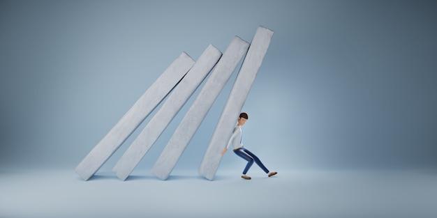 Un homme d'affaires aide à pousser un graphique à barres tombant dans un effondrement économique. concept de survie de l'entreprise. illustration 3d