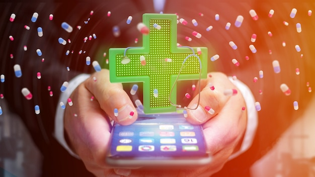 Homme d'affaires à l'aide d'un smartphone avec une croix de pharmacie d'éclairage et un stéthoscope - rendu 3d