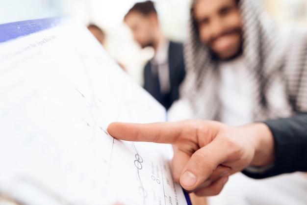 Un homme d'affaires arabe discute d'une entreprise sourde.