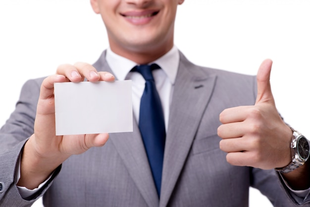 Homme d'affaires avec une carte vierge isolée sur blanc