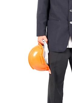 Homme d'affaires avec casque de chantier. isolé sur fond blanc
