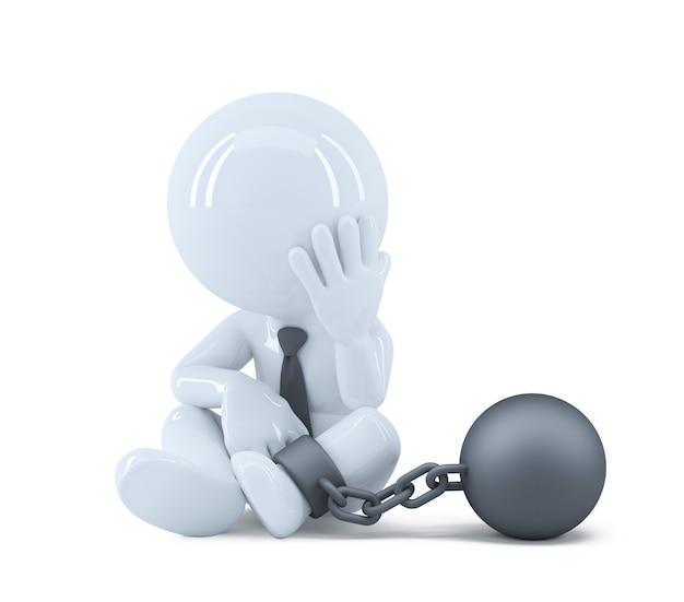 Homme d'affaires avec une chaîne au pied. concept de droit et de criminalité