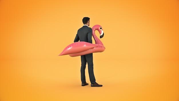 Homme d'affaires sur le concept de vacances gonflable flamant rose rendu 3d
