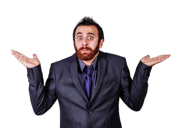 Homme d'affaires confus doutant isolé sur blanc