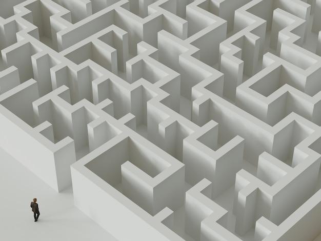 Homme d'affaires debout devant l'entrée du labyrinthe. rendu 3d