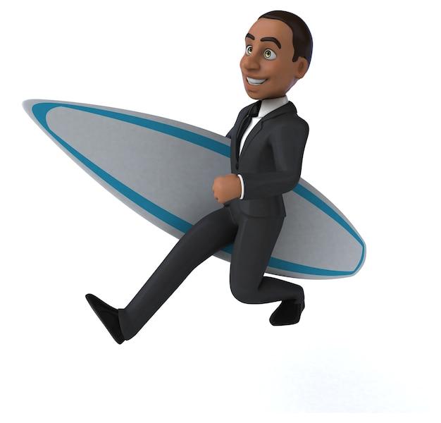 Homme d'affaires de dessin animé 3d amusant surf