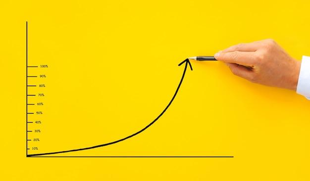 Homme d'affaires dessine une flèche graphique avec un pourcentage de 10 à 100