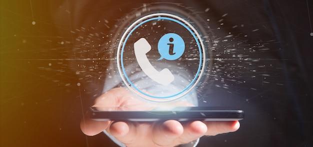Homme d'affaires détenant un bouton de service d'assistance clientèle et d'assistance téléphonique