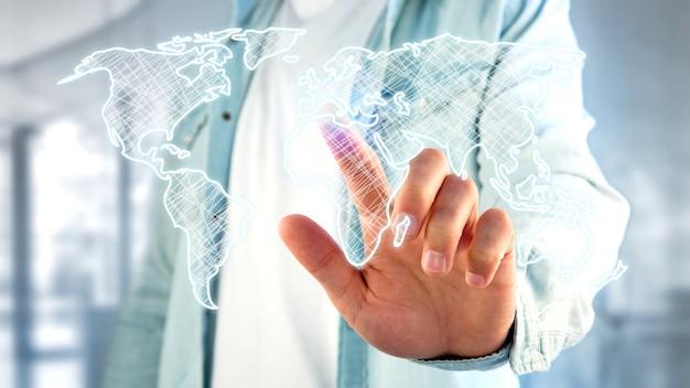 Homme d'affaires détenant une carte du monde dessinée à la main sur une interface futuriste