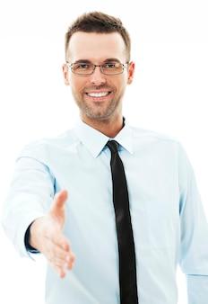 Homme affaires, donner main, pour, poignée main