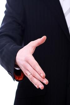 Homme affaires, donner, sien, main, poignée main