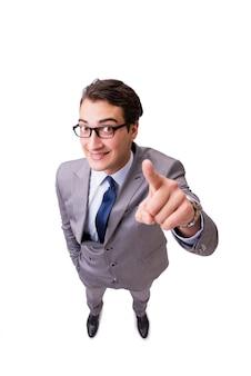 Homme d'affaires drôle en appuyant sur les boutons virtuels isolés sur blanc