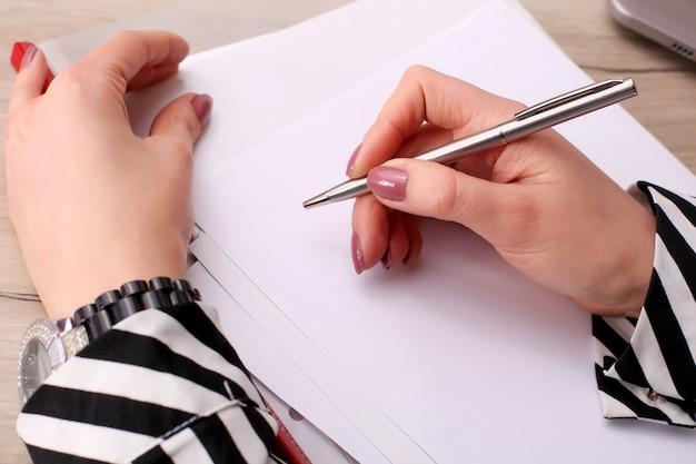 Homme affaires, écriture, note, vide, cahier