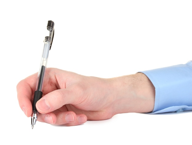 Homme d'affaires écrivant sur le document