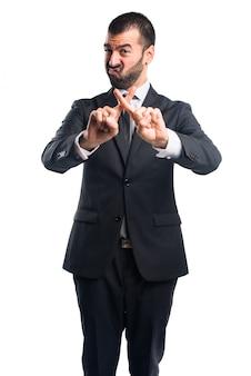 Homme affaires, faire, arrêt, signe