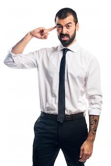 Homme d'affaires faisant un geste fou