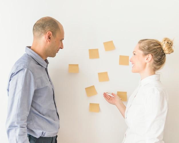 Homme d'affaires et femme d'affaires planifiant sur la note adhésive sur le mur